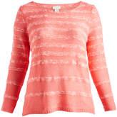 Caribbean Joe Coral Stick Stripe Sweater - Plus