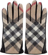 Burberry House Check Leather Gloves