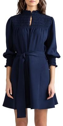 Shoshanna Canal Puff-Sleeve Self-Tie Dress