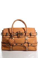Luella Orange Sherbet Patent Leather Silver Tone Gisele Satchel Handbag