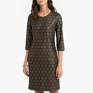 Anne Weyburn Mid-Length Shift Dress in Metallic Jacquard with Long Sleeves