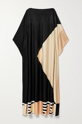 LOUISA PARRIS Net Sustain Etta Printed Silk-jersey Maxi Dress - Black