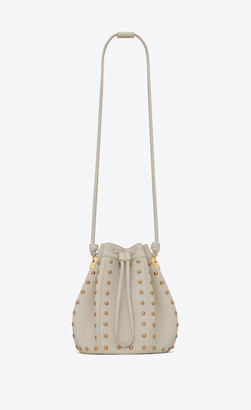 Saint Laurent Bucket Bag Talitha Medium Bucket Bag In Smooth Leather With Studs Blanc Vintage Onesize