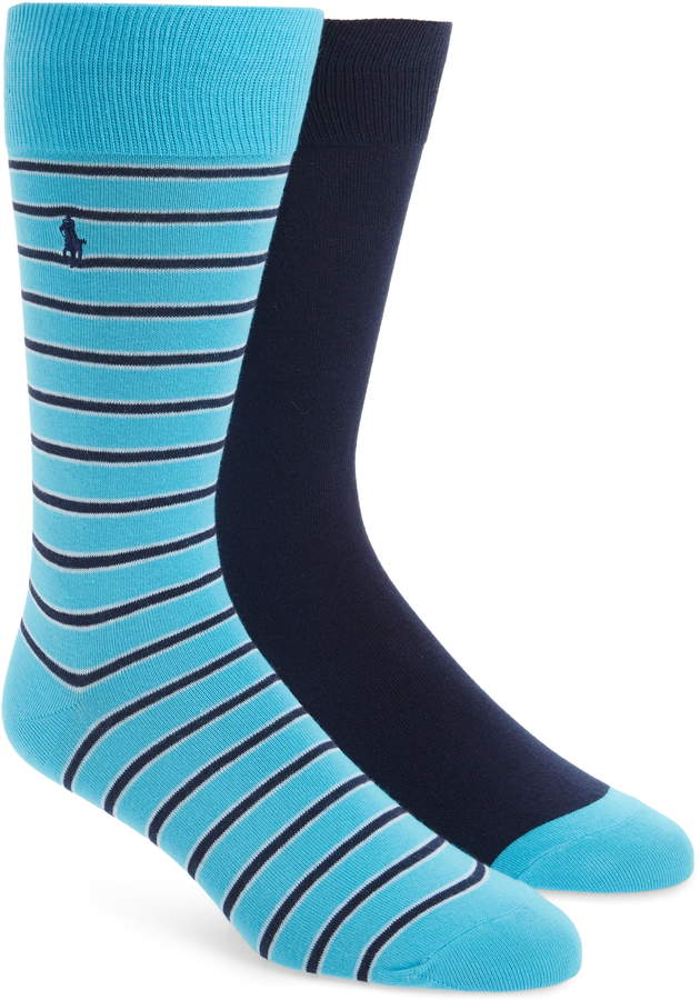 Polo Ralph Lauren 2-Pack Stripe & Solid Socks