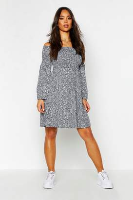 boohoo Woven Ditsy Sheered Bardot Skater Dress