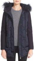 Moncler Theodora Water Resistant Hooded Jacket with Genuine Mongolian Fur Trim