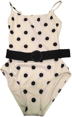 Solid & Striped White Swimwear for Women