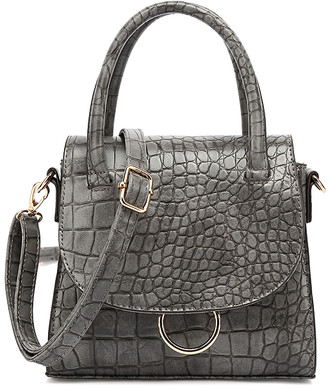 Style Strategy Women's Crossbodies Grey - Gray Croc-Embossed Open Ring Crossbody Bag