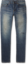 Saint Laurent - Skinny-fit 15cm Hem Distressed Stretch-denim Jeans