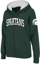 Unbranded Women's Stadium Athletic Green Michigan State Spartans Arched Name Full-Zip Hoodie