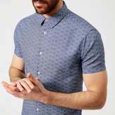 Emporio Armani Men's Patterned Short Sleeve Shirt Fantasia Blu