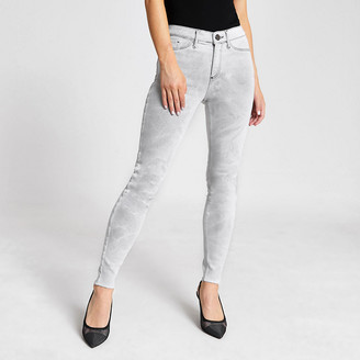 River Island Grey washed Molly mid rise jeggings