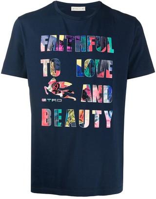 Etro slogan print T-shirt