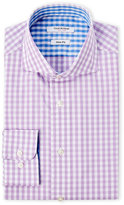 Isaac Mizrahi Lilac Gingham Check Slim Fit Dress Shirt