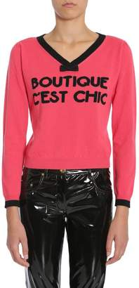 Moschino V-Neck Bow Detail Sweater