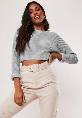 Missguided Tall Gray Super Cropped Knit Sweater