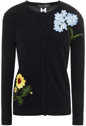 Oscar de la Renta Embellished Embroidered Merino Wool Cardigan