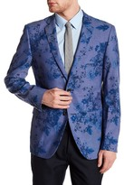 Paisley & Gray Blue Floral Two Button Notch Lapel Slim Fit Jacket