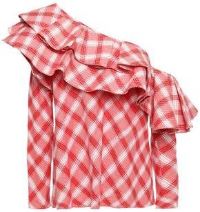 Johanna Ortiz Mangas Coloradas One-shoulder Ruffled Checked Cotton Top