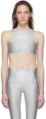 MSGM Grey Logo Sports Bra