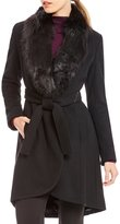 Calvin Klein Hi-lo Faux Fur Collar Wool Belted Coat