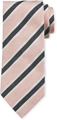 Ermenegildo Zegna Framed Stripe Silk Tie, Pink