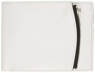 Maison Margiela White and Black Calfskin Folded Zip Wallet