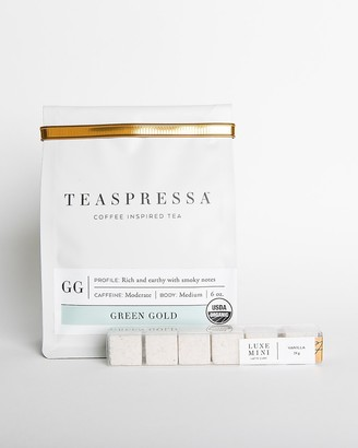Express Teaspressa Green Gold Tea Pouch + Vanilla Mini Luxe Cube Set