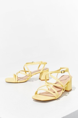Nasty Gal Womens Oh Strappy Days Faux Leather Block Heels - Yellow - 5