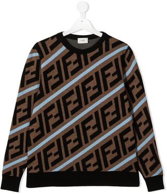 Fendi Kids TEEN FF intarsia-knit jumper