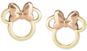 Disney Children's Minnie Mouse Silhouette Stud Earrings in 14k Gold & Rose Gold
