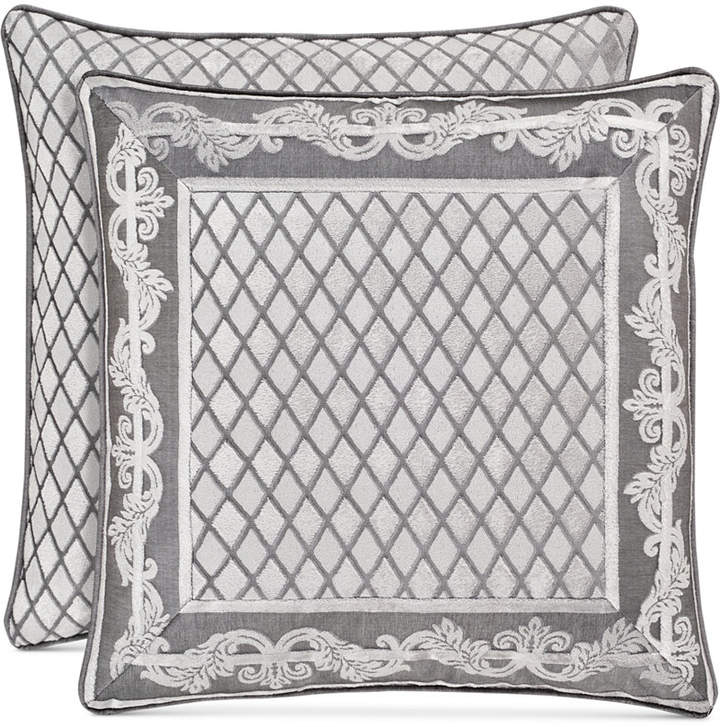 """J Queen New York Bel Air Tufted-Chenille Silver 20"""" Square Decorative Pillow"""