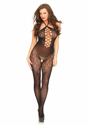 Leg Avenue Women's Seamless Opaque Halter Bodystocking with Lace and Net Panel