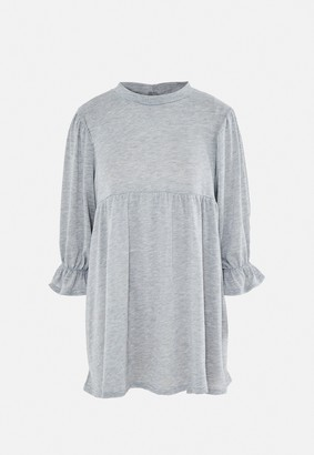 Missguided Grey Frill Cuff Smock Sweater Dress