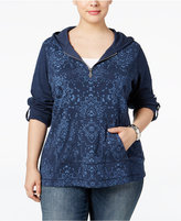Style&Co. Style & Co. Plus Size Printed Half-Zip Hoodie, Only at Macy's