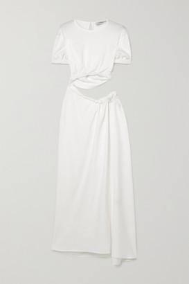 CHRISTOPHER ESBER Cutout Gathered Stretch-faille Maxi Dress - White