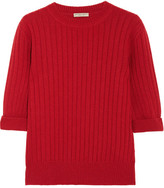 Bottega Veneta Ribbed Wool And Cashmere-blend Sweater - Red