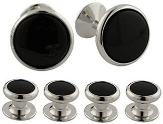 David Donahue Onyx and Brass Stud Set (Silver) Cuff Links
