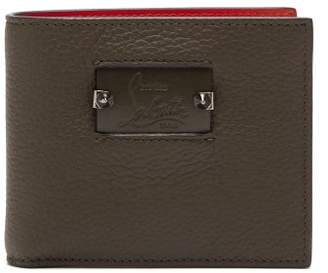 Christian Louboutin Spike And Leather Bi-fold Wallet - Mens - Green Multi
