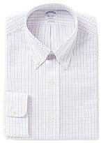 Brooks Brothers Non-Iron Regent Fit Fitted Classic-Fit Button-Down Collar Checked Dress Shirt