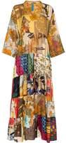 Rianna + Nina ulti floral print V-neck silk kaftan dress