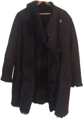 Gerard Darel Brown Mongolian Lamb Coat for Women
