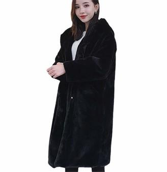 NKJGFV Winter Women Faux Hair Fur Coat Korean Hooded Faux Mink Hair Long Jacket