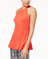 NY Collection Ruffle-Hem Top
