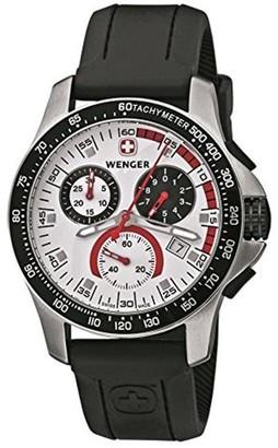 Wenger Men's 70791 Battalion Chrono Silver Dial Black Leather Watch