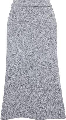 Tibi Fluted Melange Ribbed-knit Midi Skirt