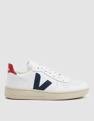 Veja Women's V-10 Sneaker in Extra White Nautico, Size 40   Leather