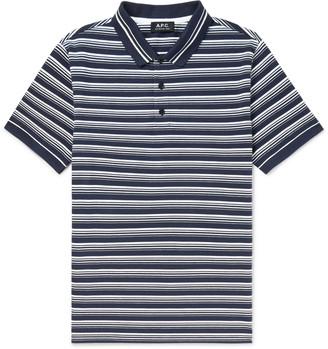 A.P.C. Esteban Striped Cotton-Pique Polo Shirt