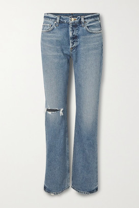 Gold Sign Nineties Distressed High-rise Bootcut Jeans - Mid denim