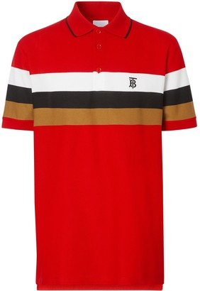 Burberry striped TB motif polo shirt